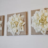 "Three Ivory Dahlias on Burlap 12 x12"" Canvas Home Decor"