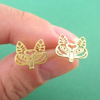 Fox Face Shaped Tribal Floral Cut Out Stud Earrings in Gold