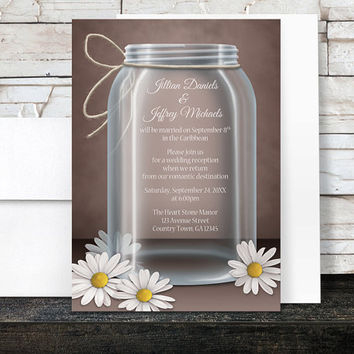 Mason Jar Reception Only Invitations - Rustic Mason Jar over Brown with a Floral Daisy design -  Post-Wedding Reception - Printed