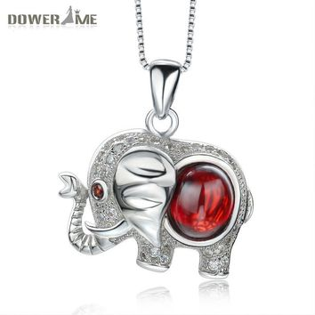 Dower Me Women CZ Elephant Pendants with Ruby Luxury Sterling Silver 925 Necklaces Pendants for Couple Gift Pingente A032