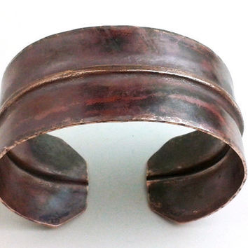 Copper Bracelet Cuff Fold Formed - Gothic Victorian Edwardian Regal Heat Patina Oxidized Hammered Forged Folded Rustic Medieval Ox Blood