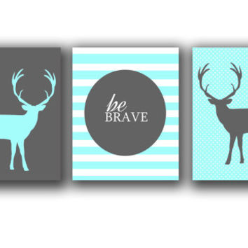 Children wall Art Set -Printable Deer print set - set of 3 prints- Modern art - Digital Download -Mint and gray wall decor -kids room decor