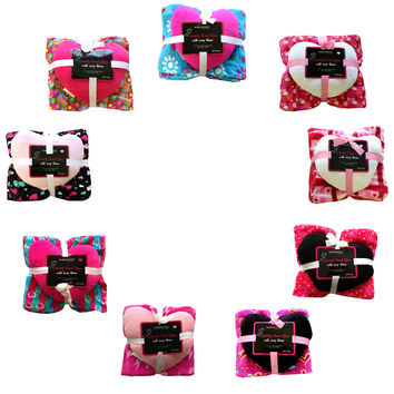 2pc Pattern Throw Blanket with Heart Shaped Pillow: Hot Pink Hearts