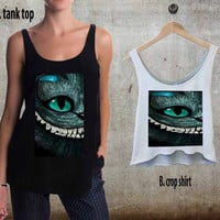 Alice Wonderland And Cheshire Cat Face For Woman Tank Top , Man Tank Top / Crop Shirt, Sexy Shirt,Cropped Shirt,Crop Tshirt Women,Crop Shirt Women S, M, L, XL, 2XL**