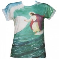 Ladies Surfs Up Jesus Sublimated Boyfriend T-Shirt From Dirty Cotton Scoundrels : TruffleShuffle.com
