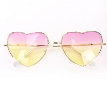 Pink Yellow Gradient Tinted Heart Shape Sunglasses