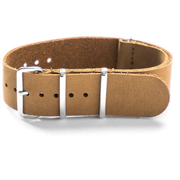 LEATHER NATO STRAP KHAKI NUBUCK