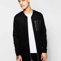 ASOS Super Longline Bomber With Gold Zips & Woven Pocket