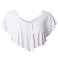 LE3NO Womens Stretchy Flowy Crop Top with Ruffle Detail