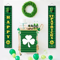 QIFU St. Patricks Day Banner Door Hanging Happy Saint Patricks Day Decor Spring Green Leaves St Patricks Day Party Decoration