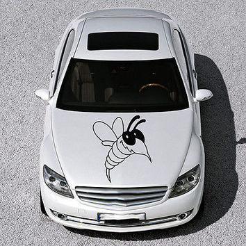CUTE FUNNY BEE INSECT WINGS DESIGN HOOD CAR VINYL STICKER DECALS ART SV1170