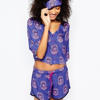 Chelsea Peers Crop & Mask Short Pyjama Set