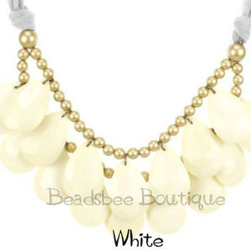 White Anthropologie Necklace Bib Necklace by BeadsbeeBoutique