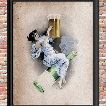 Beer Goddess Art Print Primitive Grunge Vintage Style Party Bar Sign Digital Printable Woman Cave She Shed Wall Home Decor