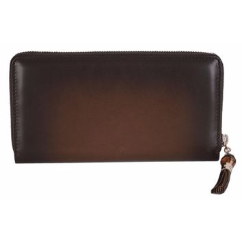 Gucci Brown Ombre Leather Zip Around Wallet 224253