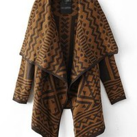 Brown Long Sleeve Geometric Print Cape Sweater  S007017