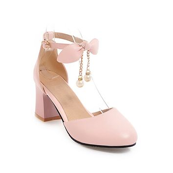 Bow Ankle Strap Chunky Heel Sandals Summer Shoes 5508
