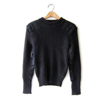 Vintage Black Ribbed Sweater - Black Wool Pullover with Elbow & Shoulder Patches - LL Bean Sweater.