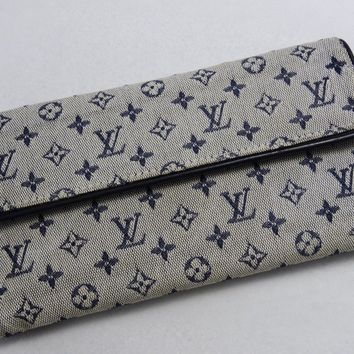 US SELLER!!! Authentic LOUIS VUITTON NAVY MONOGRAM MINI LIN WALLET CANVAS CLUTCH