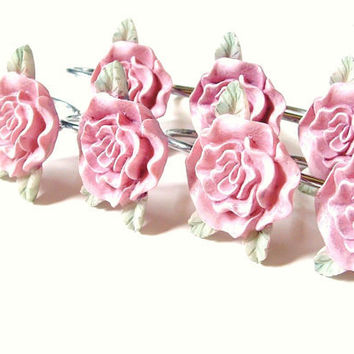 Vintage Pink Rose Shower Curtain Hook Set