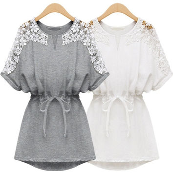 Crochet Lace Medium Style Short Sleeve Loose Blouse Casual Slim Fit Shirt Top Outwear for Women Ladies (Size M/L/XL/XXL/3XL/4XL) = 1958502468