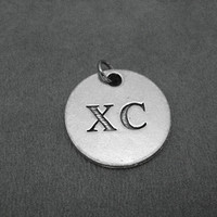 XC Cross Country Round Pewter Pendant Charm - The Run Home's XC Cross Country Charm available only at The Run Home - ONE (1) Pewter Charm