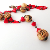 Art Deco Czech Red Molded Glass Roses Flapper Sautoir Necklace - Vintage lipstick rouge - y-shaped - lingerie - lavalier - rose - bohemian