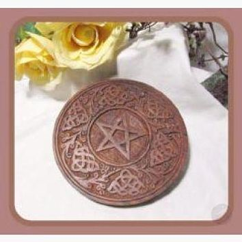 Wooden Pentagram Celtic Altar Tile / Wall Hanging Plaque