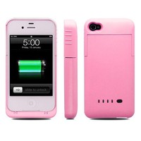 BXT® iPhone 4 / 4s External Rechargeable Spare Backup Extended Battery Charger Case Cover for Apple iPhone 4 / 4s (2000mah, Pink)
