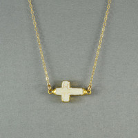 White Sideways Cross Edged with 24k Gold - Fashion 2012 Necklace, 14K Gold Fill Chain, Modern, Simple, Delicate, Everyday Wear Jewelry