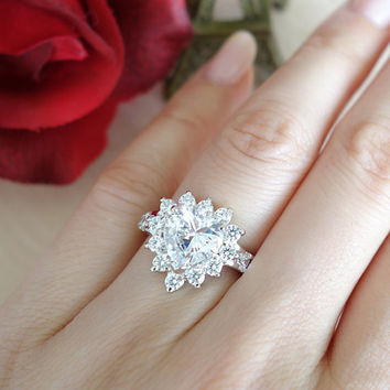 Size 7:  3 Carat Heart Cut Halo Ring, Man Made Diamond Simulants, Engagement Ring,  Wedding Ring, Promise Ring, Bridal, Sterling Silver,