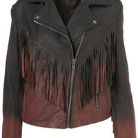 Ombre Fringe Biker Jacket - Jackets  - Apparel
