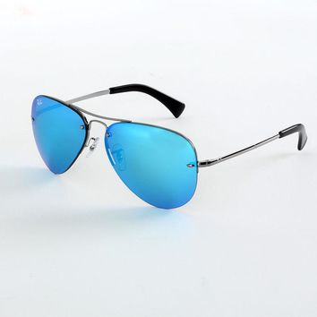 Ray-Ban Gunmetal Sunglasses with Blue Mirrored Lenses RB3449 004/55 - Men