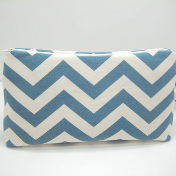 Large Chevron Pouch, Blue Chevron Accessory Pouch, Diaper Pouch, Travel Pouch, Wristlet Pouch