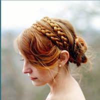 wide double strand hair braided headband braid by Puppycatmeow