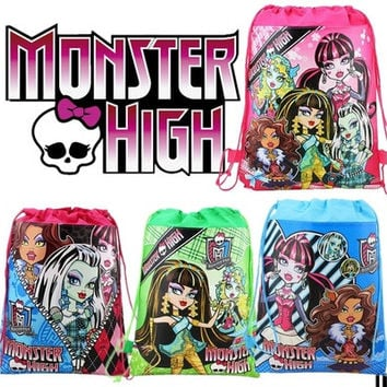 Cartoon Cute Monster-High Printed Kids Students Drawstring Backpack Bag Shopping Back to School Travel Waterproof Fabric Gift Favour Bags [8045403143]