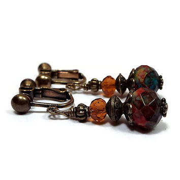 Clip on Earrings Multi Color Beaded Antiqued Brass Screw Back Boho Summer Jewelry