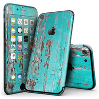 Turquoise Chipped Paint on Wood - 4-Piece Skin Kit for the iPhone 7 or 7 Plus