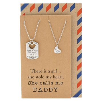 Mason Father Daughter Personalized Engraved Necklaces, Father's Day Card