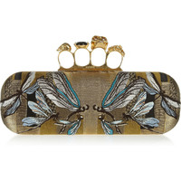 Alexander McQueen | Long Knuckle embroidered silk box clutch | NET-A-PORTER.COM