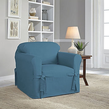 Perfect Fit® Classic Relaxed Fit Chair Slipcover in Vintage Blue