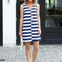 Nautical Blue And White Striped Dress-Karlie Sailboat Shift Dres-$88.00 | Hand In Pocket Boutique