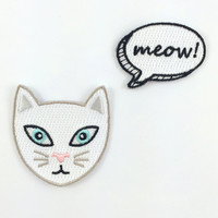 Kitty Cat & Meow! Thought Bubble Embroidered Patch Set/2 - Iron-On Appliques