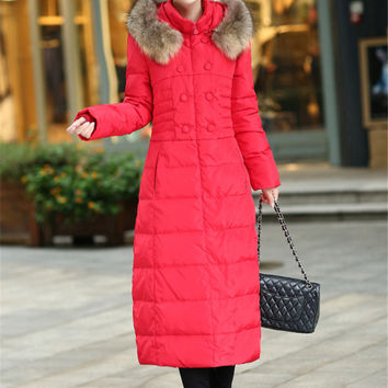 New Fashion Women Winter Coat Super Warm Duck down Down jacket Elegant Thick Hooded Fur collar Big yards Slim Women Coat G0403