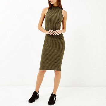 Khaki ribbed high neck bodycon midi dress - bodycon dresses - dresses - women