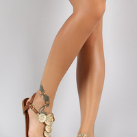Bamboo Coin Ornament T-Strap Thong Flat Sandal
