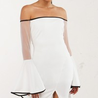 White Dramatic Sleeve Dress