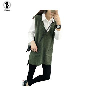 2017 New spring autumn sweater women 4 solid colors V-Neck knitted pullovers Vest Dress long section all-match korean womens