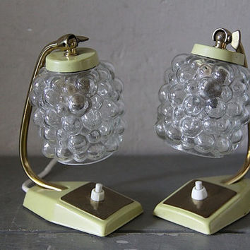 Pair of Mid Century Table Lamps Desk Lamps 1950s Clear Glass shades