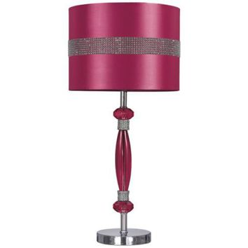 L801584 Nyssa Acrylic Table Lamp (1/CN) - Hot Pink/Silver Finish - Free Shipping!